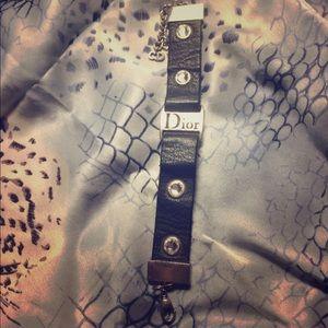 Vintage Christian Dior Black Leather / Swarovski